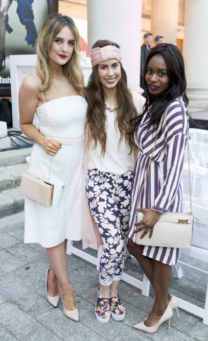 Repro Free: 09/09/2015 Pictured here is Lorna Duffy, Jessica Banaghan and Filomena Kaguako at the 2015 Dublin Fashion Festival Young Designer of the Year Show hosted at the Bank of Ireland, College Green. Guests at last night's event were treated to a design extravaganza as the crème de la crème of Ireland's young designers showcased their vision for fashion and competed for the coveted title of Young Designer of the Year. Hosted by two of Ireland's leading designers, commentators and stylists, Sonya Lennon and Brendan Courtney, the show saw the announcement of not only the Young Designer of the Year but also the Canon Young Photographer of the Year and a new CityJet competition. Dff.ie  Picture Andres Poveda