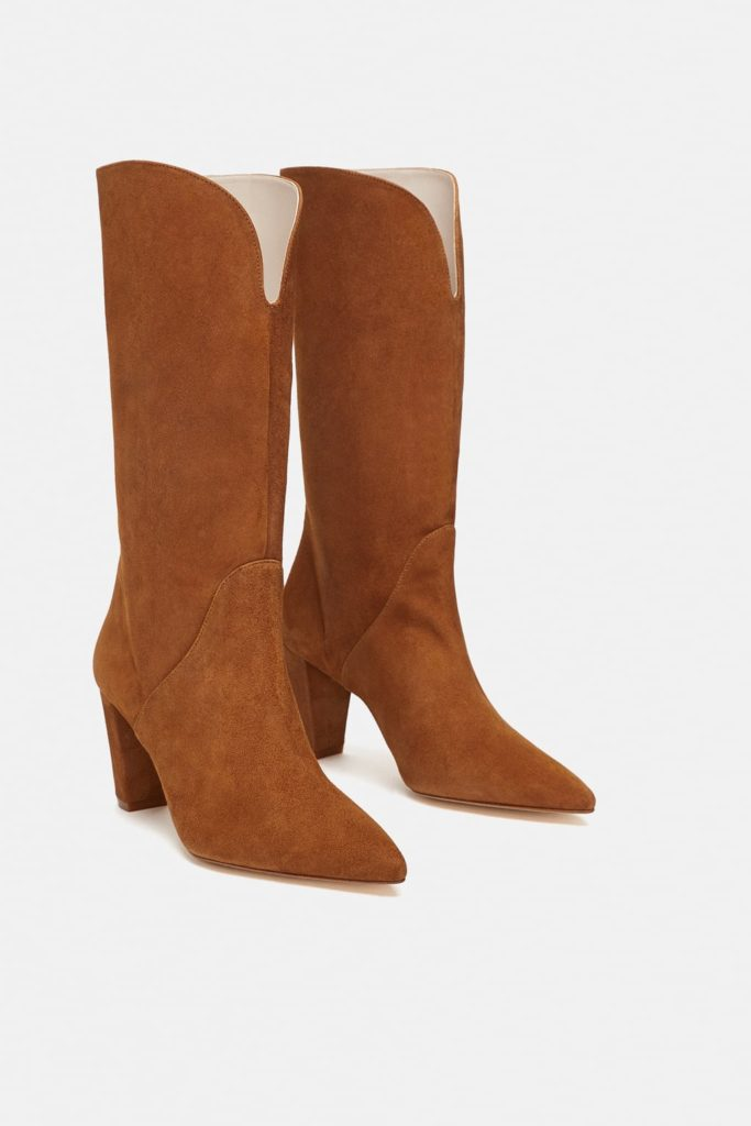 brown leather boots Zara