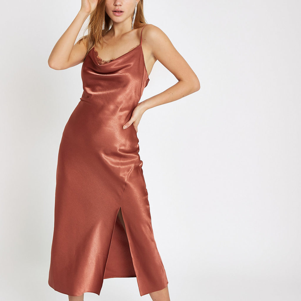 rust satin cowl dress